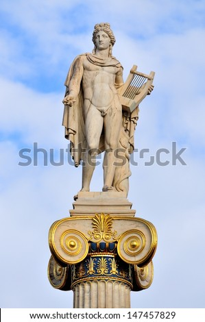Apollo statue in the Academy of Athens ,Greece - stock photo