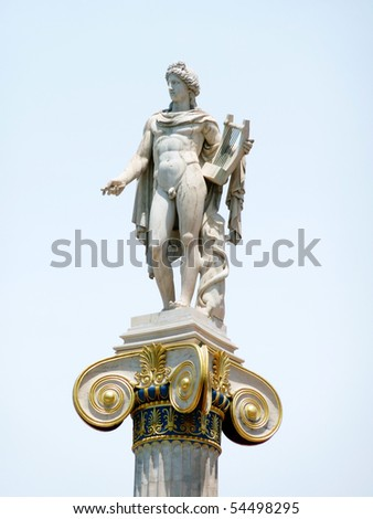 Apollo statue on a column capital at the national academy of Greece - stock photo
