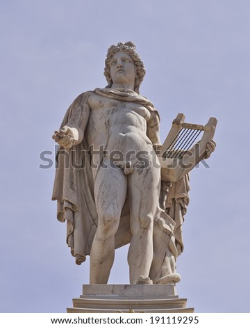 Apollo statue, the god of poetry and music, Athens, Greece - stock photo