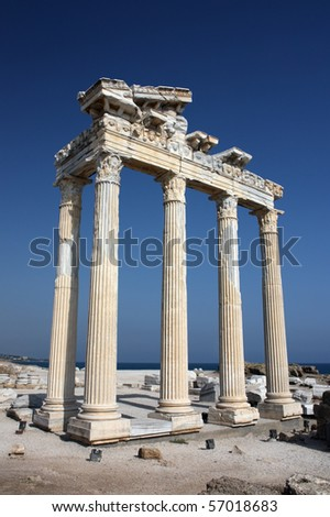 Apollo temle ruins in Side Turkey on a deep blue sky background - stock photo