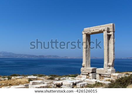 Apollo Temple entrance, Naxos island, Cyclades - stock photo