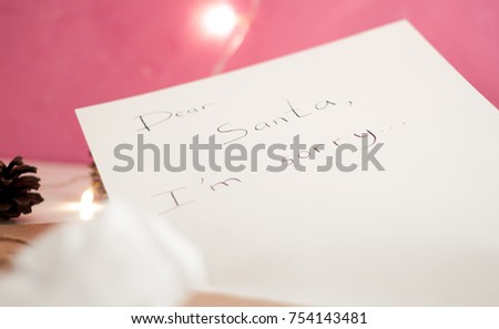 Apology Letter Santa View White Desktop Stock Photo 754143481