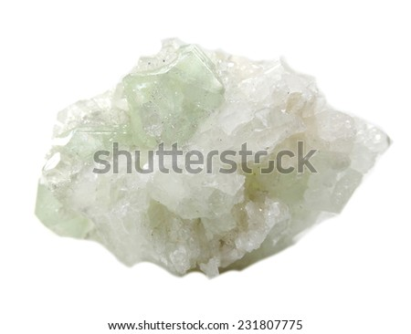 apophyllite semigem geode crystals geological mineral isolated  - stock photo