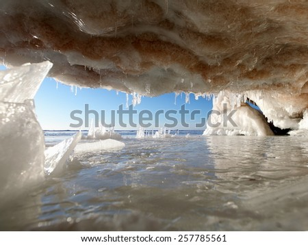 Apostle Island Ice Cave on the shore of Lake Superior