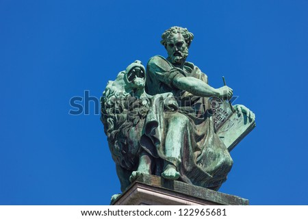 Apostle Mark, sculpture on west facade Isaak cathedral in St.Petersburg. Russian sculptor Giovanni Vitali (1794-1855) - stock photo