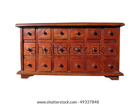 Apothecary cabinet drawers isolated  clipping path - stock photo