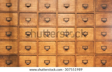 Apothecary wood chest with drawers, 30 drawers - stock photo