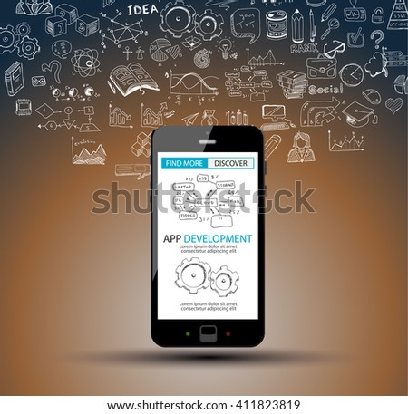 App Development Infpgraphic Concept Background with Doodle design style :user interfaces, UI design,mobiel devices. Modern style illustration for web banners, brochure and flyers. - stock photo
