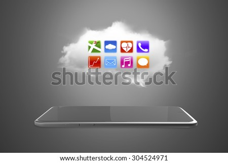 App icons on white cloud with smart tablet of black screen. - stock photo