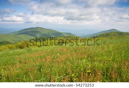 Appalachian Mountains at Max Patch bald. - stock photo