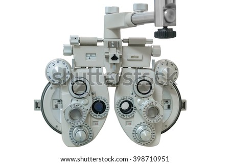 apparatus for measurement of vision isolated on white background - stock photo