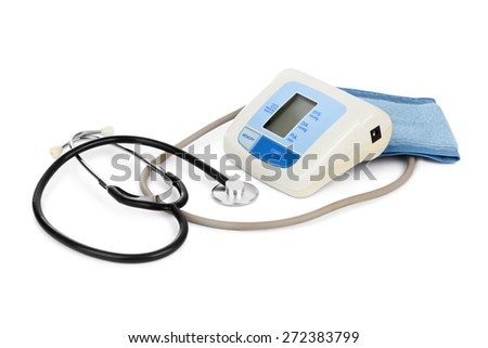 Apparatus for measuring blood pressure isolated on white background - stock photo
