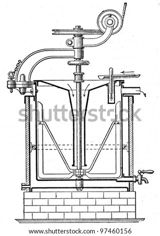 """apparatus for the pasteurization of milk - an illustration to article """"Milk"""" of the encyclopedia publishers Education, St. Petersburg, Russian Empire, 1896 - stock photo"""