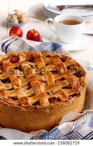 Appeltaart, homemade traditional dutch apple cake - stock photo