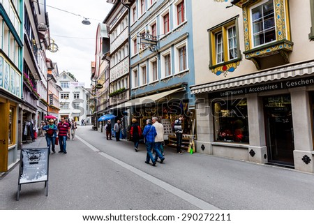 APPENZELL, SWITZERLAND - MAY 25: Views of the old town part of Appenzell, a typical swiss village on May 25, 2015. Appenzell is a region in the northeast of Switzerland.