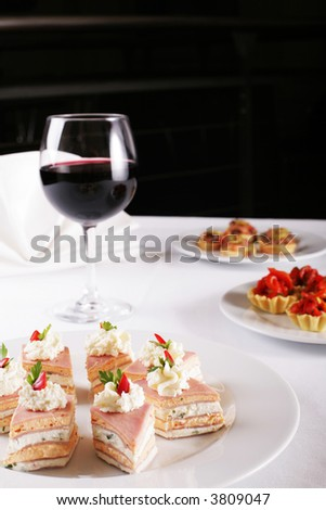 appetizer buffet food, copy space - stock photo