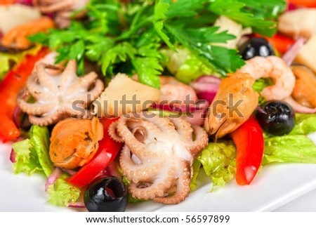 appetizer closeup of different seafood and vegetables on a white - stock photo