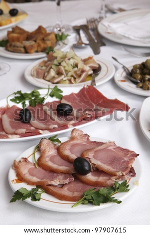 appetizer - cooked ham - stock photo