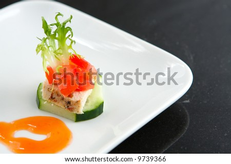 appetizer of Chicken and cucumber