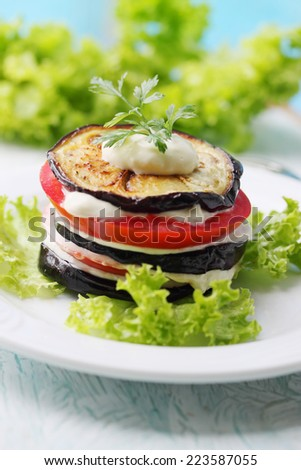 Appetizer of eggplant, tomato and garlic sauce - stock photo