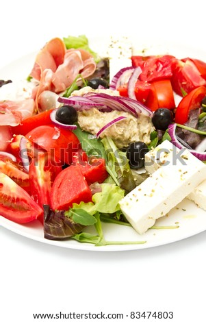 Appetizer of mixed meat, vegetables and chees (shalof DOF, focus in the middle)