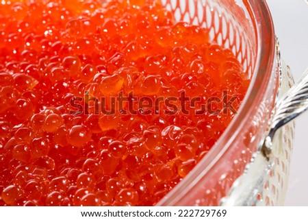 Appetizer. Red caviar. Creative cuisine. close-up - stock photo