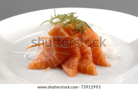appetizer salmon sashimi - stock photo