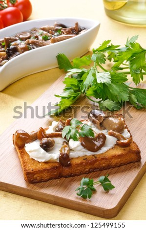 Appetizer:  toast with mushroom and cheese