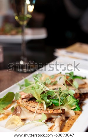 Appetizer with mushrooms, space for copy - stock photo
