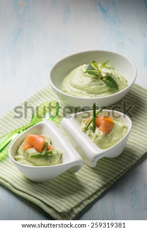 appetizer with smoked salmon and avocado cream