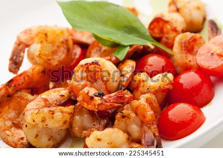 Appetizers -  Fried Tiger Shrimps with Garlic and Cherry Tomato