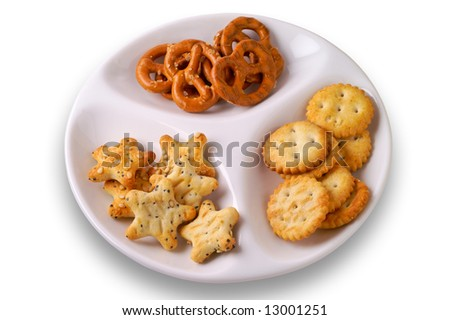 Appetizers in dish - top view with clipping path