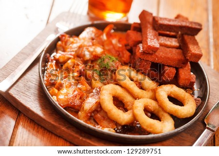 appetizers in the pub - stock photo
