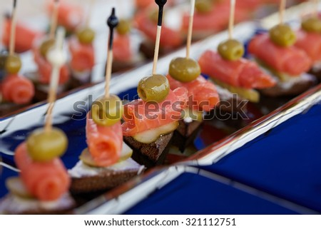 appetizers on a skewer - stock photo