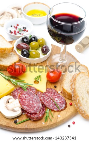appetizers - salami, cheese, bread, olives, tomatoes and glass of wine on white background