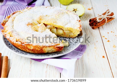 appetizing apple pie, food closeup - stock photo
