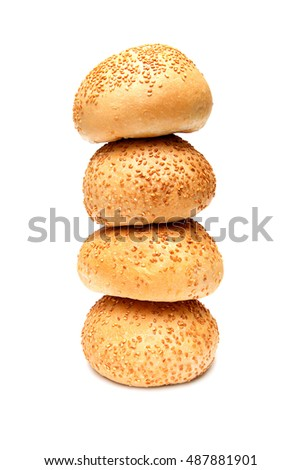 appetizing brioche bread with sesame seeds and a crispy crust on white background