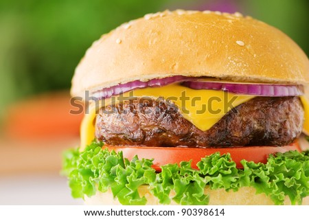 appetizing cheeseburger with red onion closeup - stock photo
