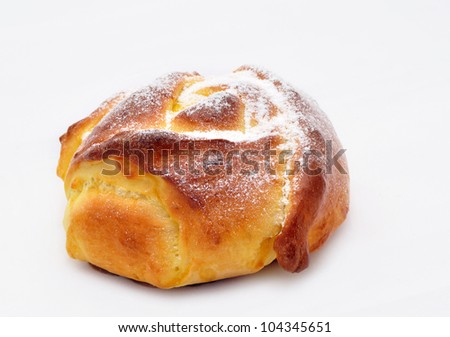 Appetizing croissants on a white background