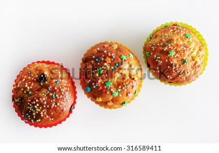 Appetizing delicious sweet homemade muffins. Top view. - stock photo