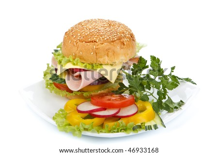 Appetizing ham sandwich on a white background