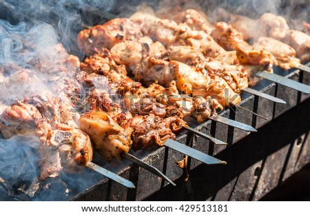 Appetizing hot shish kebab on metal skewers - stock photo
