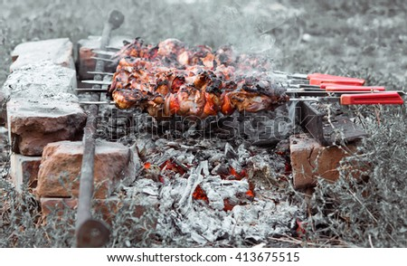 Appetizing hot shish kebab with tomatoes on metal skewers prepares on the coals outdoors. Grilling shashlik on barbecue grill. - stock photo