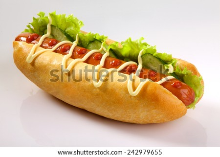 Appetizing hotdog isolated on white background. King size hotdog.