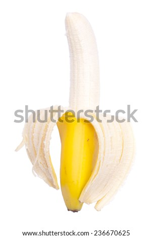 Appetizing peeled ripe banana isolated on a white background - stock photo