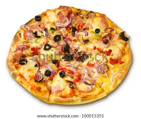 appetizing pizza with bacon salami and onions - stock photo