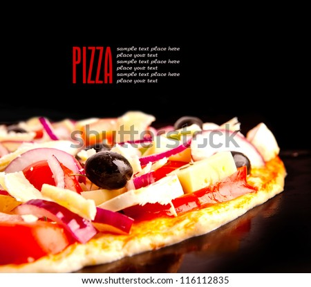 Appetizing pizza with mushrooms isolated on black - stock photo