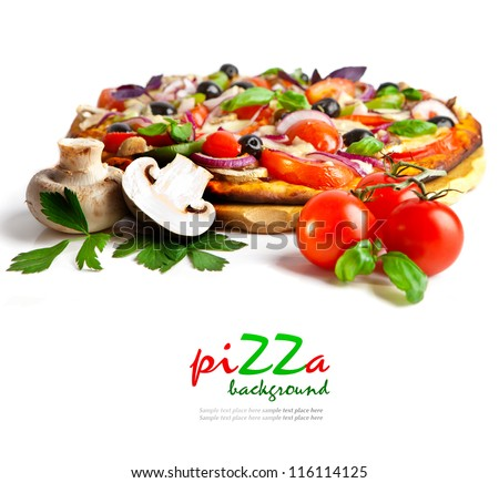 Appetizing pizza with mushrooms isolated on white - stock photo
