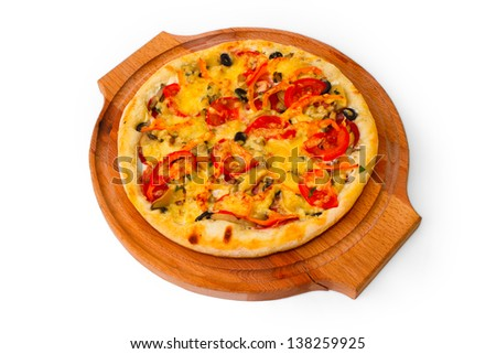 Appetizing pizza with wooden tray cheese close up white background