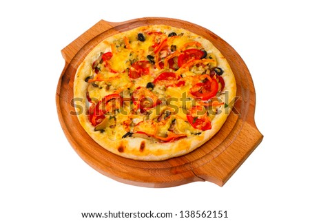 Appetizing pizza with wooden tray cheese close up white background clipping path